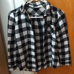 Girl's H&M Black and White Checkered Fall Flannel